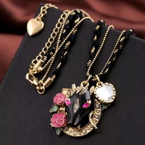 Betsey Johnson Rose Bull Head Necklace